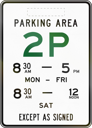 letter word: Australian road sign: Parking with time restriction - 2 Hours, with copy space