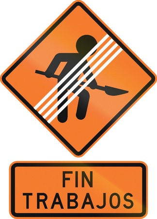 means to an end: Chilean traffic warning sign: End of workers on road zone. Fin trabajos means end of road works.