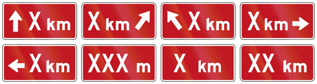 supplemental: Set of red Distance signs used as supplemental traffic signs in Quebec, Canada. Stock Photo