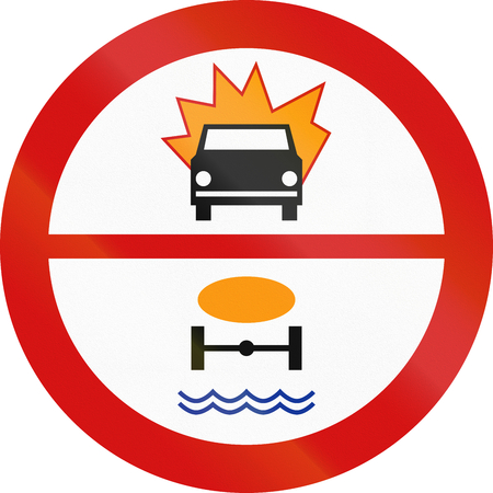 thoroughfare: Polish traffic sign prohibiting thoroughfare of motor vehicles carrying flammable goods or goods dangerous to water reserves.