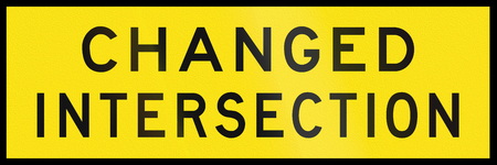 temporary: An Australian temporary road sign - Changed intersection