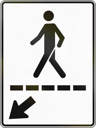 pedestrian walkway: Regulatory road sign in Quebec, Canada - Pedestrian walkway to the left. Stock Photo