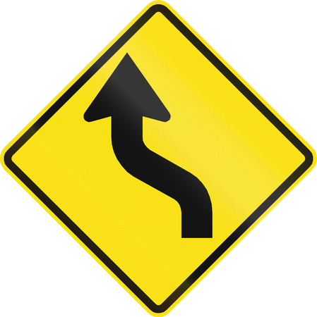reverse: Chilean road warning sign: Reverse curve first to left