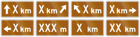 supplemental: Set of brown Distance signs used as supplemental traffic signs in Quebec, Canada. Stock Photo