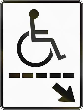 physical impairment: Regulatory road sign in Quebec, Canada - Disabled path to the right. Stock Photo
