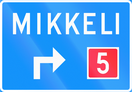 red handed: Finnish road sign no. 631. Advance direction sign (above the lane, type A)