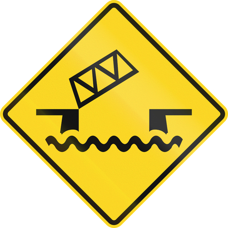 movable: Warning road sign in Canada - Movable bridge. This sign is used in Ontario.