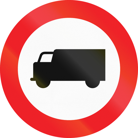 thoroughfare: Austrian traffic sign prohibiting thoroughfare of lorries (vehicles with a gross weight over 3.5 metric tons).