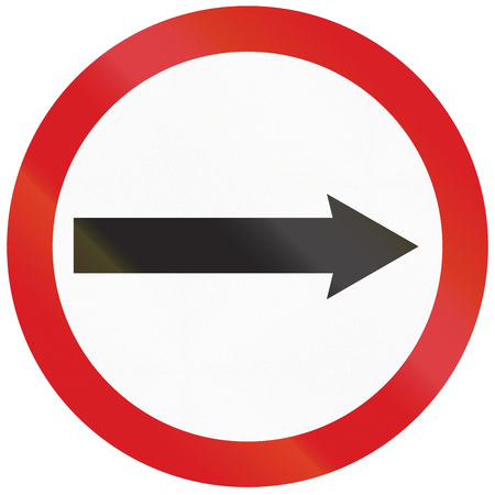 restricting: Argentinian sign restricting the driving direction to right. Stock Photo