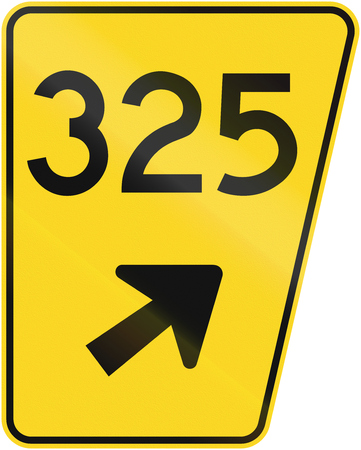 right handed: Guide and information road sign in Quebec, Canada - Road number of exit to the right.