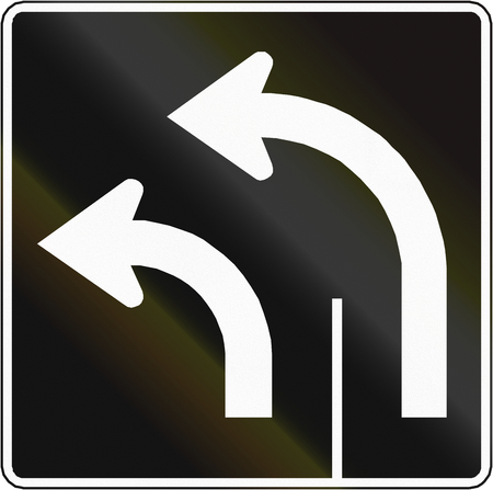 turn left: Lane management sign in Canada - Two lanes turn left. This sign is used in Quebec. Stock Photo