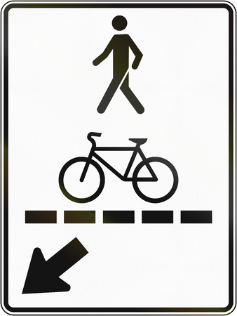one lane roadsign: Regulatory road sign in Quebec, Canada - Pedestrian walkway and bicycle path.