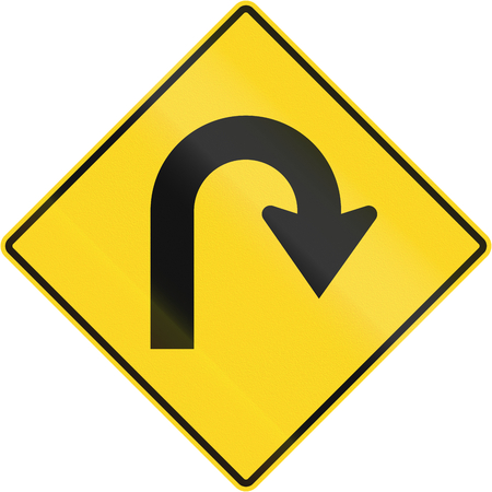 sharp curve: Canadian road warning sign - Hairpin Curve to the right. This sign is used in Quebec.