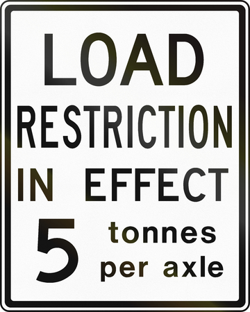 axle: Canadian traffic sign - Axle weight limit 5 tons. This sign is used in Ontario. Stock Photo