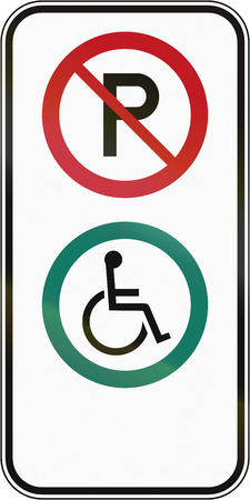 disabled parking sign: Canadian road sign - Disabled parking. This sign is used in Quebec.