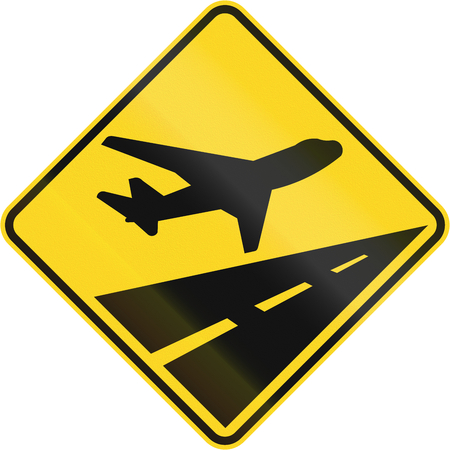 jets: Warning road sign in Quebec, Canada - Low flying jets. Stock Photo