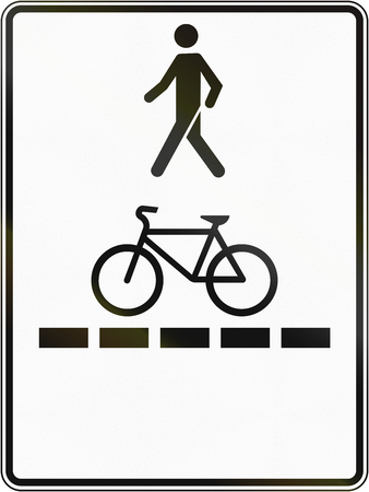one lane road sign: Regulatory road sign in Quebec, Canada - Pedestrian walkway and bicycle path.