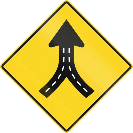 marking up: Warning road sign in Quebec, Canada - Merge ahead