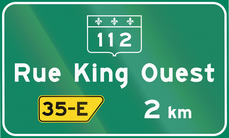exit sign: Guide and information road sign in Quebec, Canada - Highway exit sign. Stock Photo