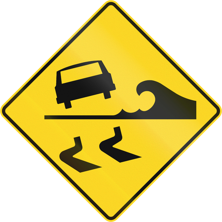 right handed: Warning road sign in Quebec, Canada - Danger of water from the right. Stock Photo