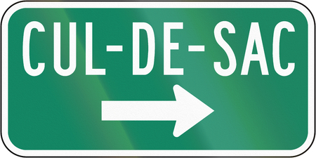 culdesac: Guide and information road sign in Quebec, Canada - Cul-de-sacdead end on the right.