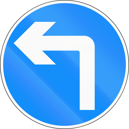 turn left: Bangladeshi traffic sign - Turn left ahead