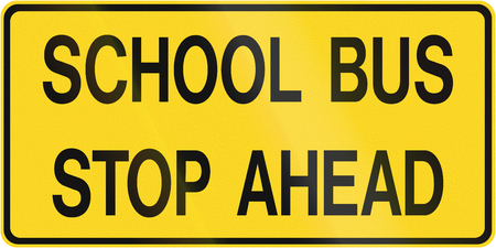bus anglais: Canadian school warning sign - School bus stop ahead. This sign is used in Ontario.