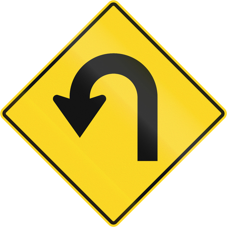 sharp curve: Canadian road warning sign - Hairpin Curve to the left. This sign is used in Quebec.