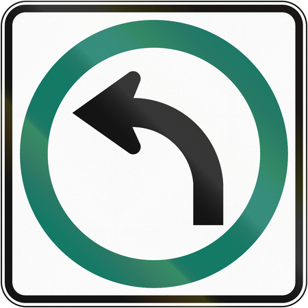 turn left: Regulatory road sign in Quebec, Canada - Turn left.