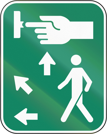 dont walk: Road sign in Canada, instructing pedestrians how to use the crosswalk signal. This sign is used in Quebec.
