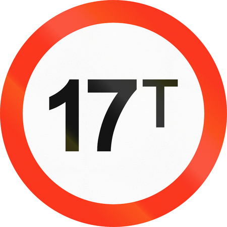 metric: Bangladeshi traffic sign prohibiting throroughfare of vehicles with a weight over 17 metric tons. Stock Photo