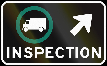 right handed: Regulatory road sign in Quebec, Canada - Truck inspection on the right.
