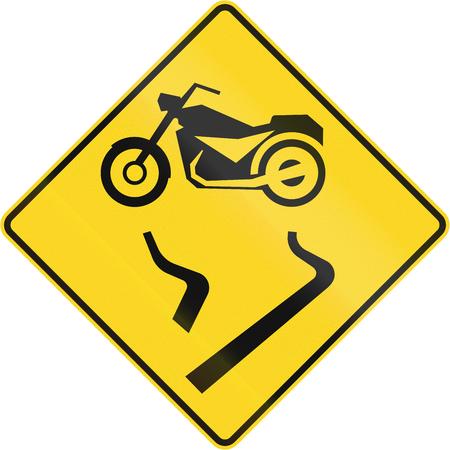 car outline: Canadian road warning sign - Slip danger for motorcycles