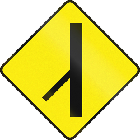 routing: Irish road warning sign - 45 degree Intersection ahead
