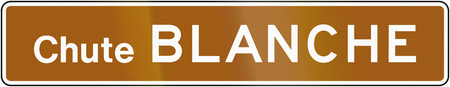 blanche: Guide and information road sign in Quebec, Canada - Blanche Falls Stock Photo