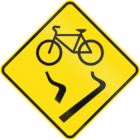 skidmarks: Canadian road warning sign - Slip danger for cyclists. This sign is used in Quebec. Stock Photo