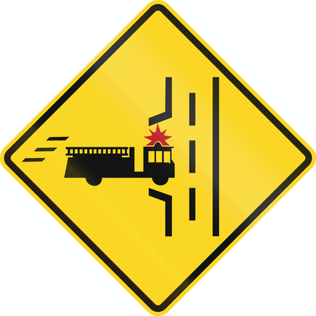 red handed: Warning road sign in Canada - Fire truck entrance on the left. This sign is used in Ontario.