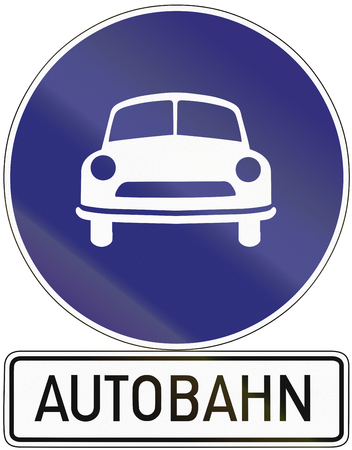 image created 21st century: Old design (1971) of a German sign indicating the beginning of an autobahn.