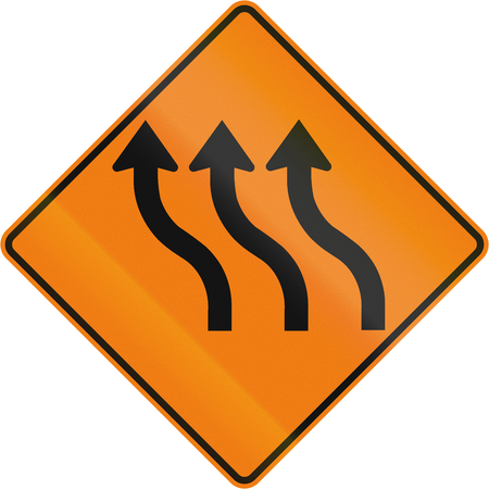 curve road: Canadian road warning sign - Three lane reverse curve. This sign is used in Quebec.