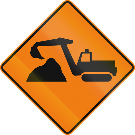 diggers: TemporaryWorks road sign in Quebec, Canada - Diggers ahead. Stock Photo