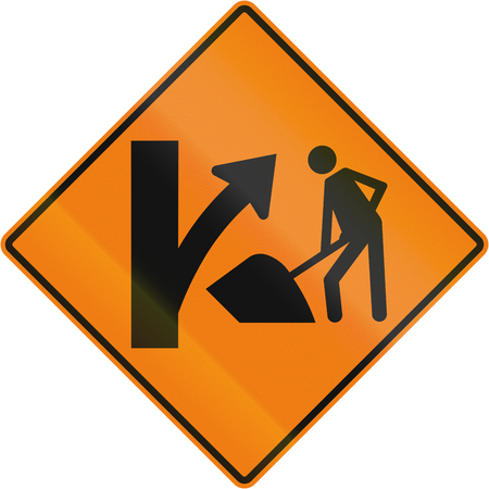 right handed: Canadian temporary traffic warning sign: Construction site on right ahead. This sign is used in Quebec. Stock Photo