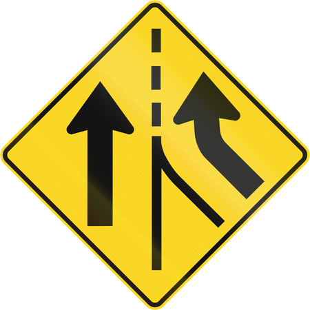 merging: Canadian road warning sign - Merging from the right. This sign is used in Quebec.