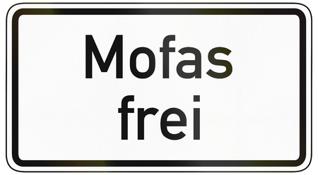 specify: German traffic sign additional panel to specify the meaning of other signs: Mopeds allowed. Stock Photo