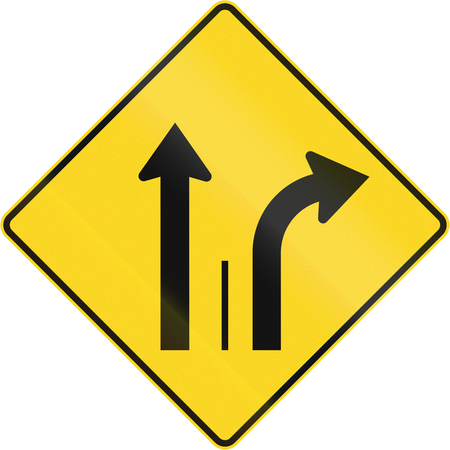moving images: Warning road sign in Quebec, Canada - Two lanes with right turn lane.