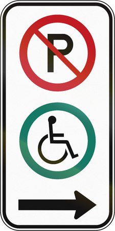 disabled parking sign: Canadian road sign - Disabled parking to the right. This sign is used in Quebec.
