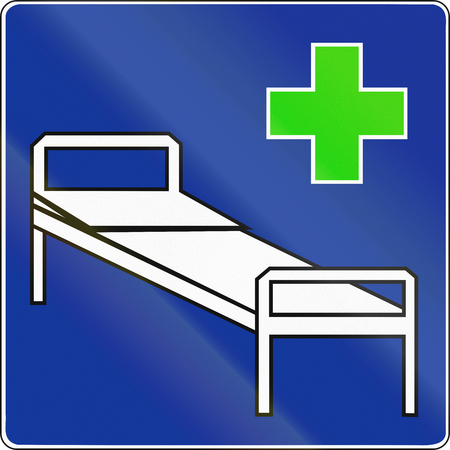sickbed: An official Polish Road Sign - Hospital. Stock Photo