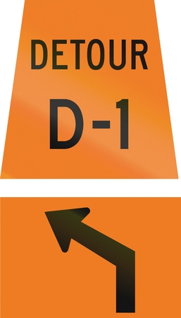 d1: Canadian temporary road sign - Left Curve ahead for detour D-1. This sign is used in Ontario.