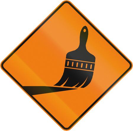 road marking: TemporaryWorks road sign in Quebec, Canada - Road marking.