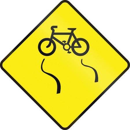 no skid: Irish road warning sign - Slip danger for cyclists