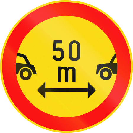 Road sign 393 in Finland - Drivers must maintain a safe minimum distance between their vehicles as shown